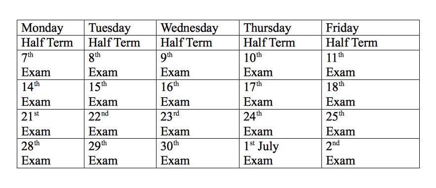Exams Jun-July